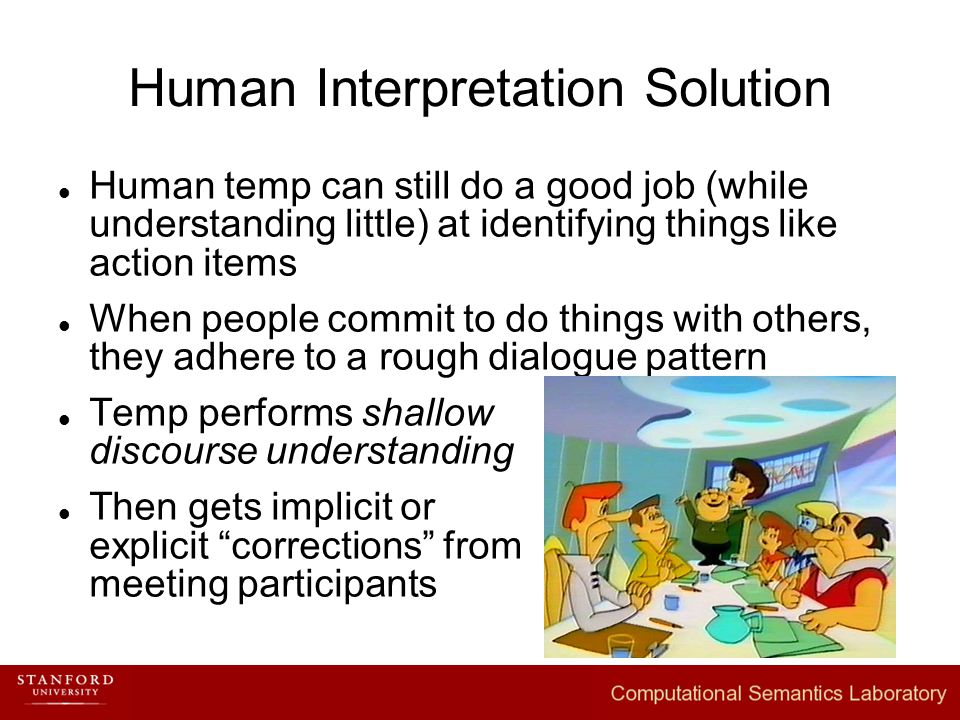 Human Interpretation Solution Human temp can still do a good job (while understanding little) at identifying things like action items When people commit to do things with others, they adhere to a rough dialogue pattern Temp performs shallow discourse understanding Then gets implicit or explicit corrections from meeting participants