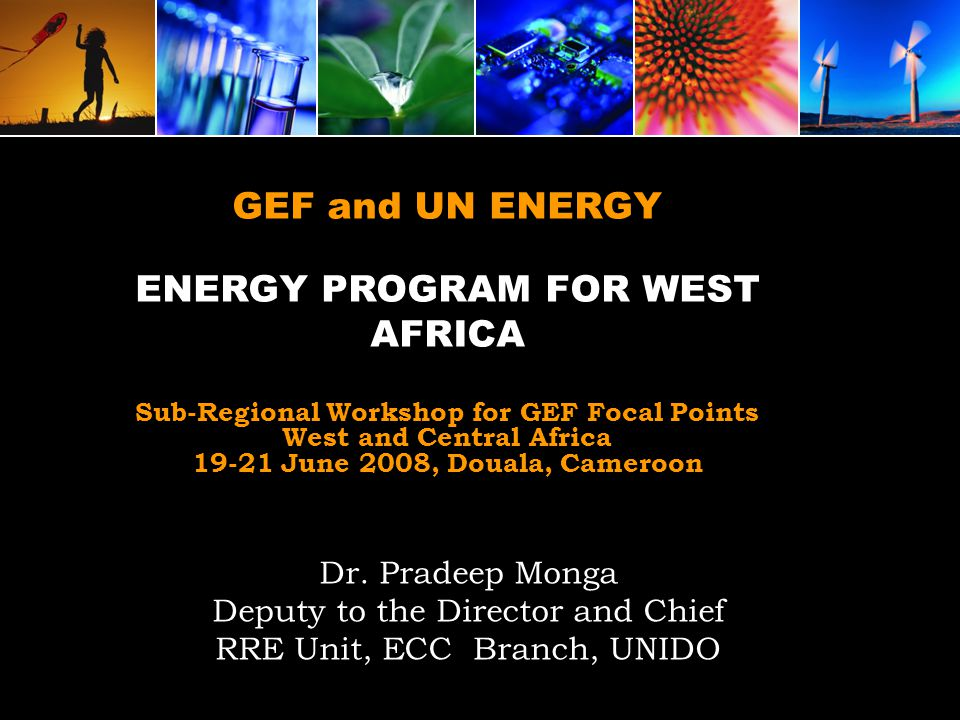 GEF and UN ENERGY ENERGY PROGRAM FOR WEST AFRICA Sub-Regional Workshop for GEF Focal Points West and Central Africa 19-21 June 2008, Douala, Cameroon Dr.