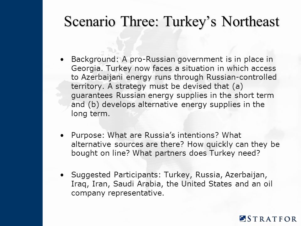 Scenario Three: Turkey's Northeast Background: A pro-Russian government is in place in Georgia.