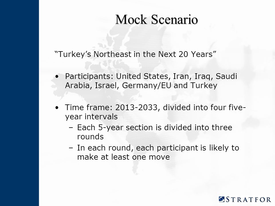 Mock Scenario Turkey's Northeast in the Next 20 Years Participants: United States, Iran, Iraq, Saudi Arabia, Israel, Germany/EU and Turkey Time frame: 2013-2033, divided into four five- year intervals –Each 5-year section is divided into three rounds –In each round, each participant is likely to make at least one move