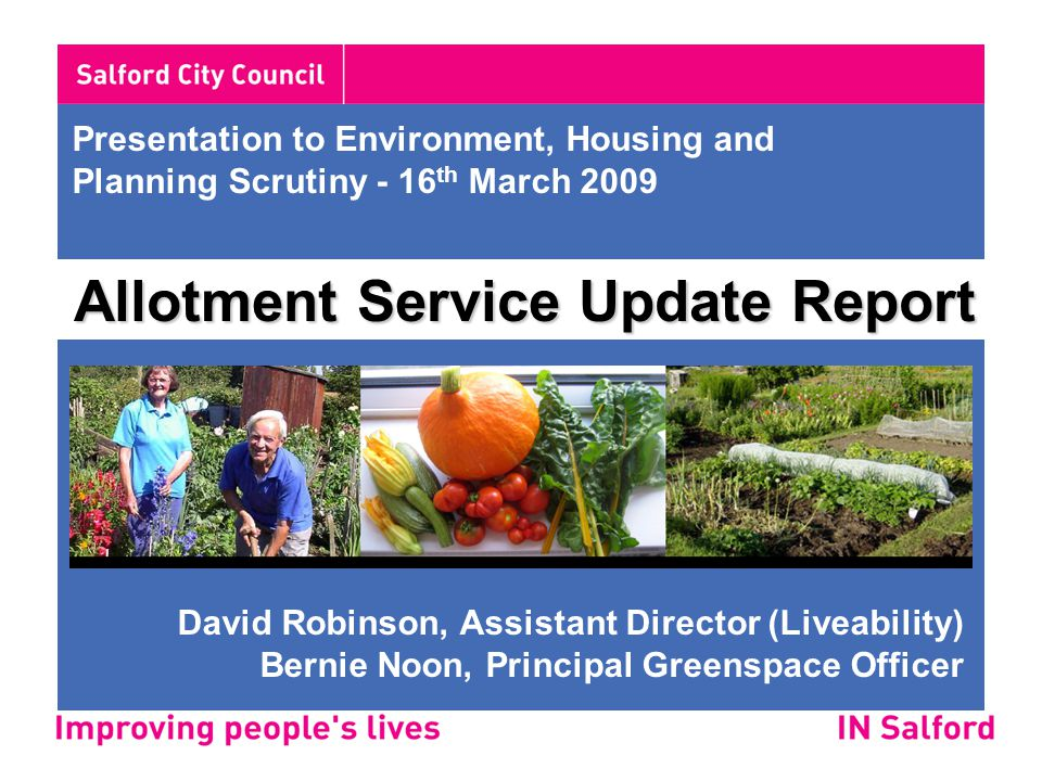 4.Establish working group to bring allotment customer services up to required standard.