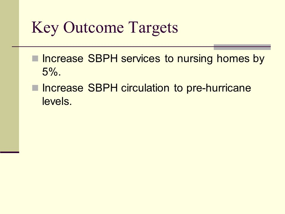 Key Outcome Targets Increase SBPH services to nursing homes by 5%.
