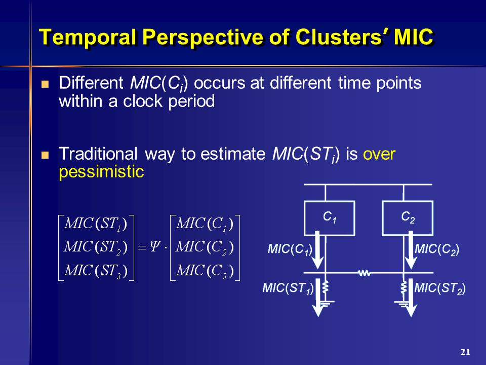 21 Temporal Perspective of Clusters ' MIC Different MIC(C i ) occurs at different time points within a clock period Traditional way to estimate MIC(ST i ) is over pessimistic