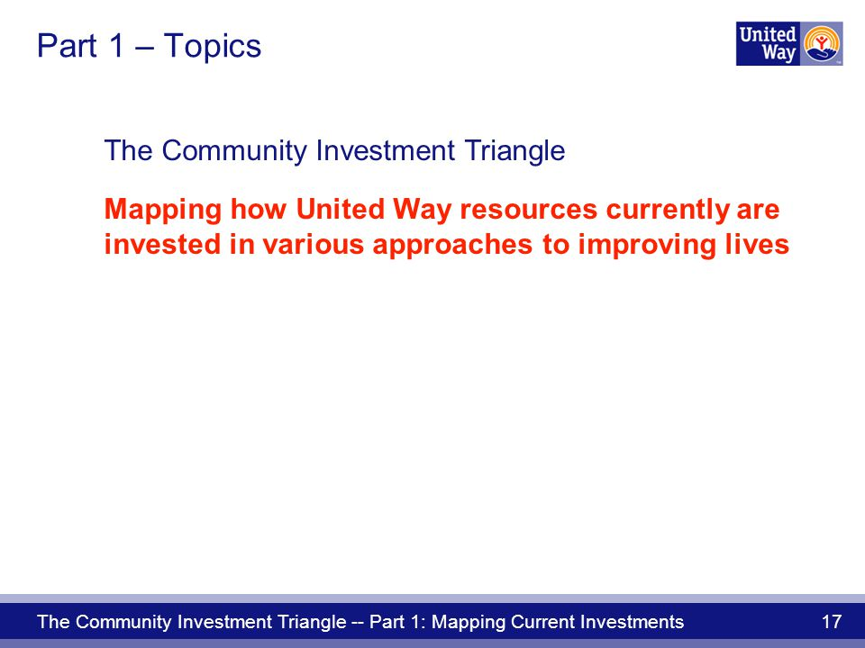 The Community Investment Triangle -- Part 1: Mapping Current Investments 17 The Community Investment Triangle Mapping how United Way resources currently are invested in various approaches to improving lives Part 1 – Topics
