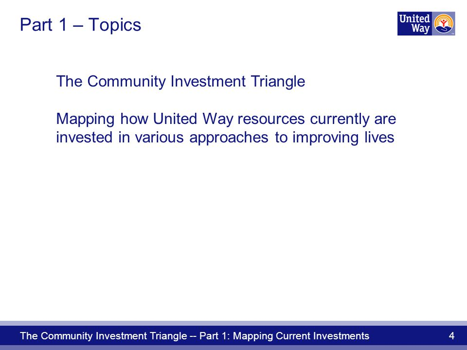 The Community Investment Triangle -- Part 1: Mapping Current Investments 15 by investing in: Breakthrough opportunities Focus on community impact