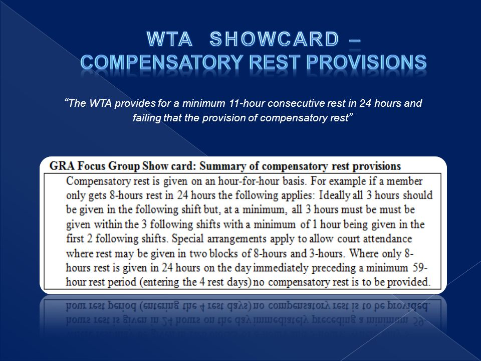 The WTA provides for a minimum 11-hour consecutive rest in 24 hours and failing that the provision of compensatory rest