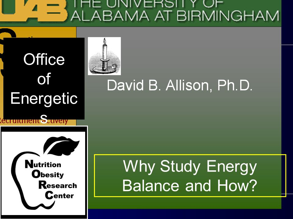 Why Study Energy Balance and How? Office of Energetic s