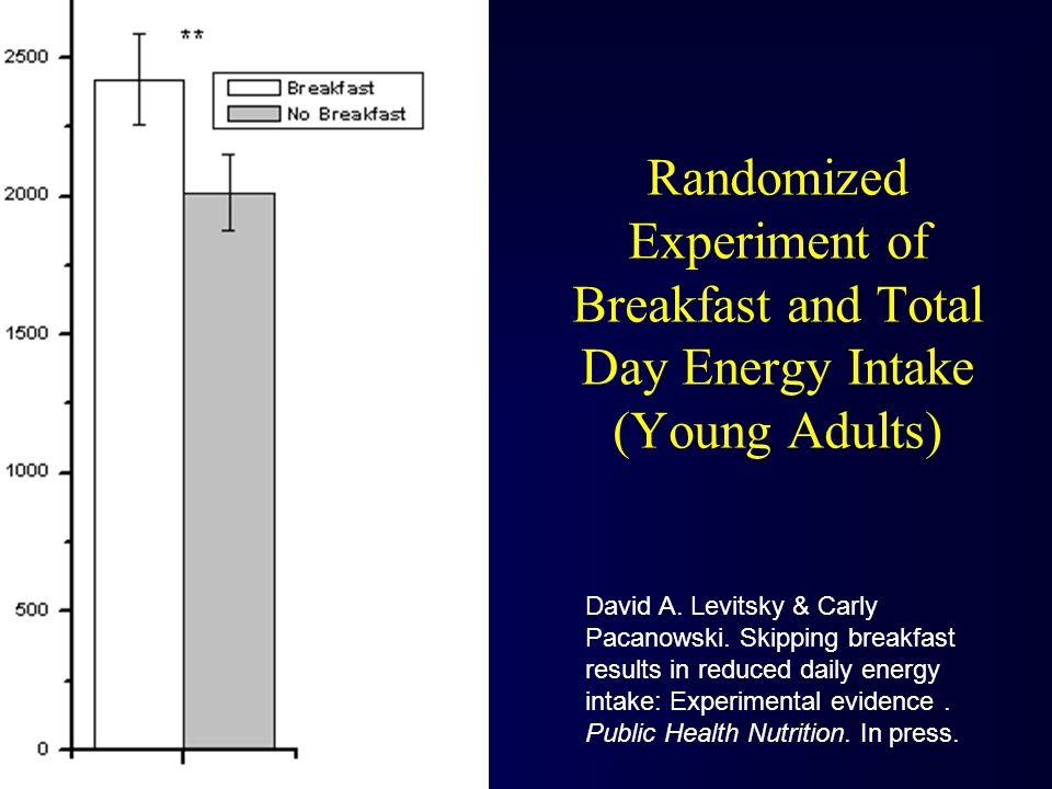 Randomized Experiment of Breakfast and Total Day Energy Intake (Young Adults) David A.