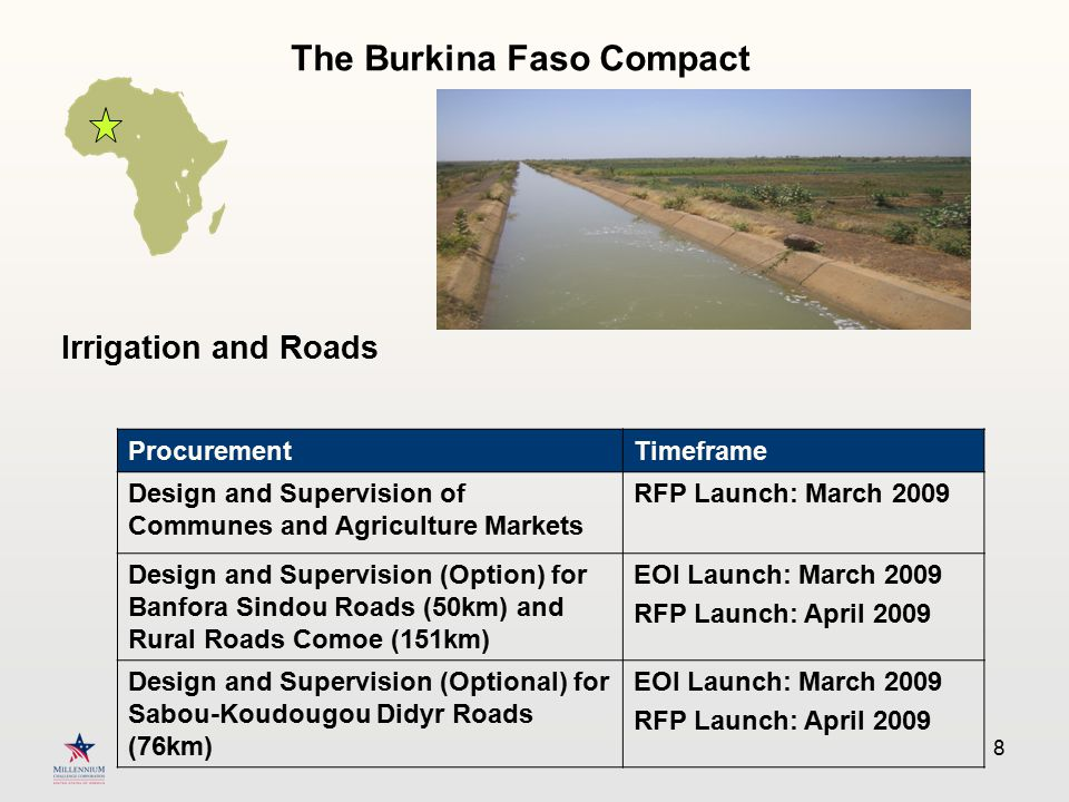 8 Irrigation and Roads ProcurementTimeframe Design and Supervision of Communes and Agriculture Markets RFP Launch: March 2009 Design and Supervision (Option) for Banfora Sindou Roads (50km) and Rural Roads Comoe (151km) EOI Launch: March 2009 RFP Launch: April 2009 Design and Supervision (Optional) for Sabou-Koudougou Didyr Roads (76km) EOI Launch: March 2009 RFP Launch: April 2009 The Burkina Faso Compact