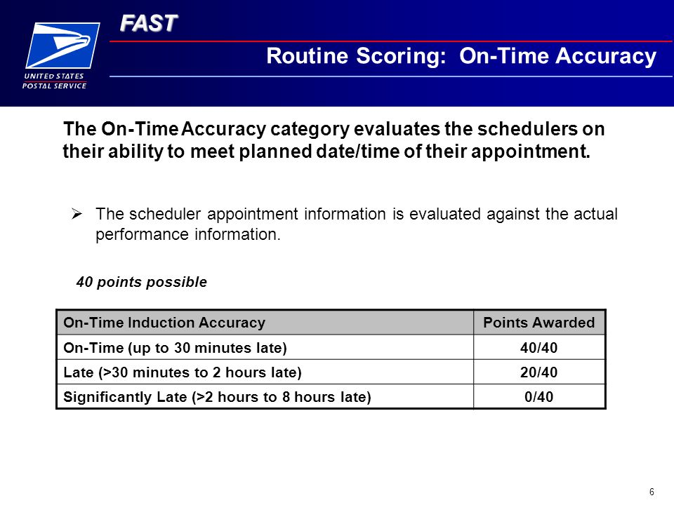 FAST 6 Routine Scoring: On-Time Accuracy  The scheduler appointment information is evaluated against the actual performance information.