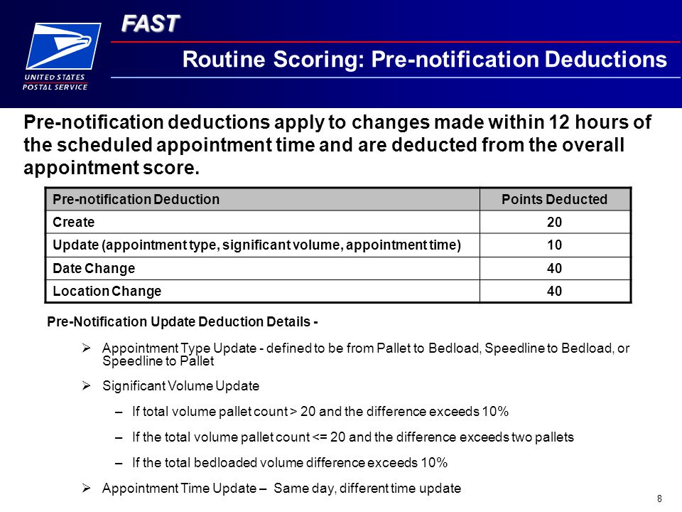 FAST 8 Routine Scoring: Pre-notification Deductions Pre-notification deductions apply to changes made within 12 hours of the scheduled appointment time and are deducted from the overall appointment score.