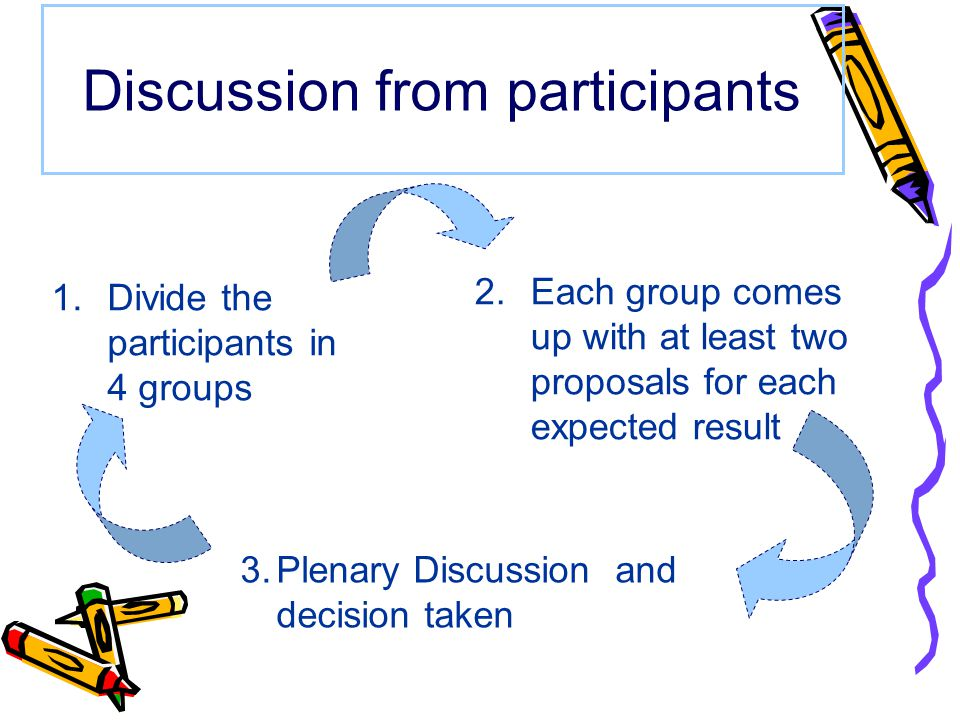 Discussion from participants 1.Divide the participants in 4 groups 2.Each group comes up with at least two proposals for each expected result 3.Plenary Discussion and decision taken