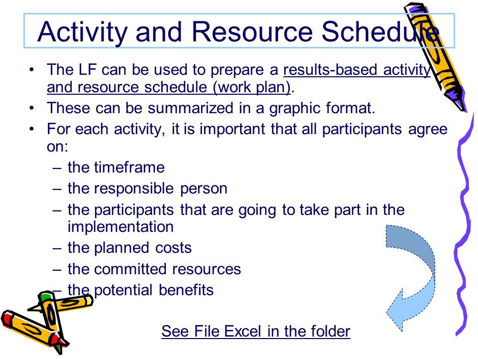 Activity and Resource Schedule The LF can be used to prepare a results-based activity and resource schedule (work plan).