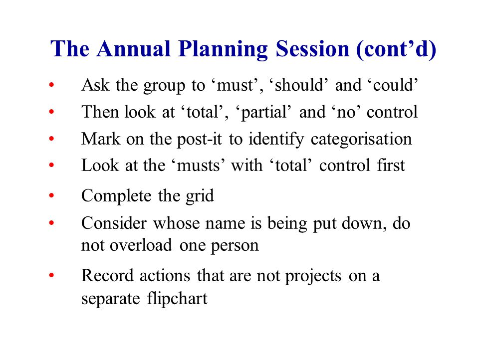 The Annual Planning Session (cont'd) Ask the group to 'must', 'should' and 'could' Then look at 'total', 'partial' and 'no' control Mark on the post-it to identify categorisation Look at the 'musts' with 'total' control first Complete the grid Consider whose name is being put down, do not overload one person Record actions that are not projects on a separate flipchart