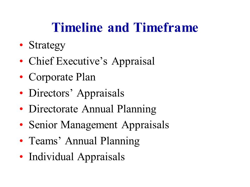 Timeline and Timeframe Strategy Chief Executive's Appraisal Corporate Plan Directors' Appraisals Directorate Annual Planning Senior Management Apprais