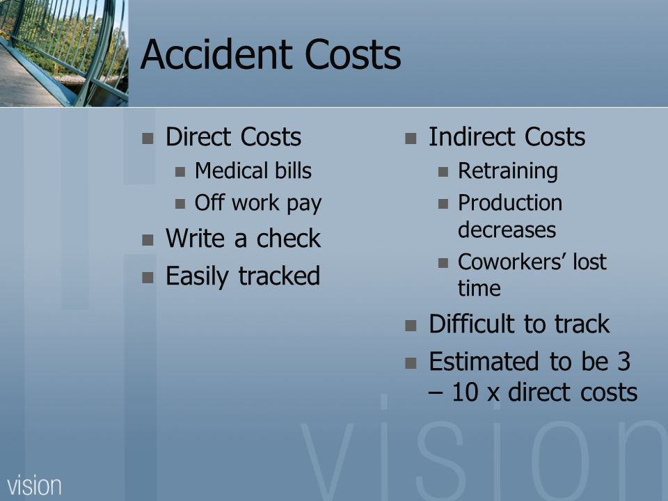 Accident Costs Direct Costs Medical bills Off work pay Write a check Easily tracked Indirect Costs Retraining Production decreases Coworkers' lost time Difficult to track Estimated to be 3 – 10 x direct costs