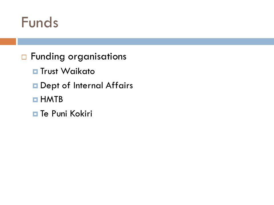 Funds  Funding organisations  Trust Waikato  Dept of Internal Affairs  HMTB  Te Puni Kokiri