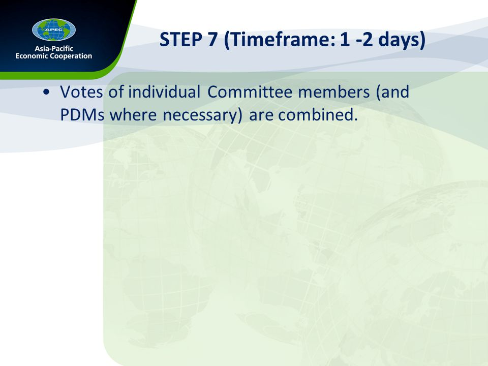 STEP 7 (Timeframe: 1 -2 days) Votes of individual Committee members (and PDMs where necessary) are combined.