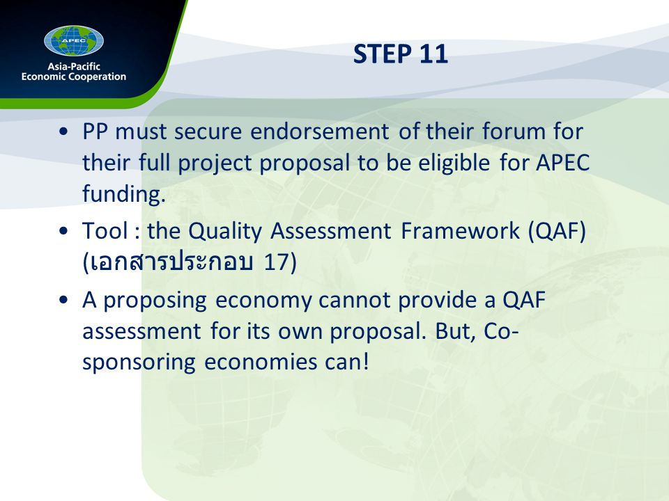 STEP 12 The Project Management Unit (PMU) will draw upon the QAF comments and uses REEIS to assess proposals.