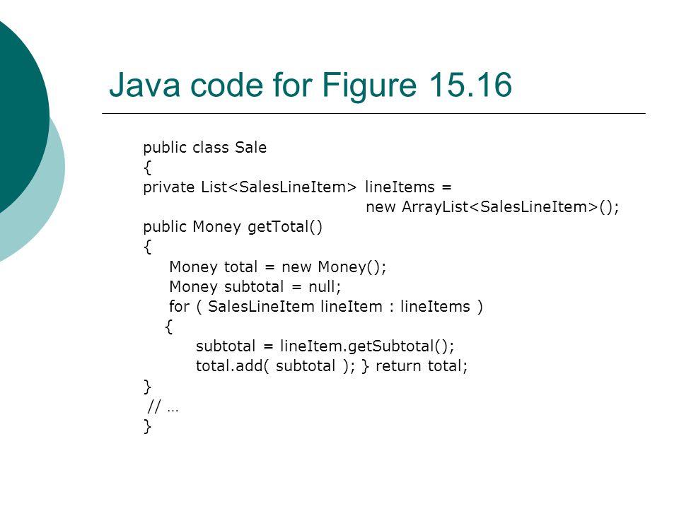 Java code for Figure 15.16 public class Sale { private List lineItems = new ArrayList (); public Money getTotal() { Money total = new Money(); Money subtotal = null; for ( SalesLineItem lineItem : lineItems ) { subtotal = lineItem.getSubtotal(); total.add( subtotal ); } return total; } // … }