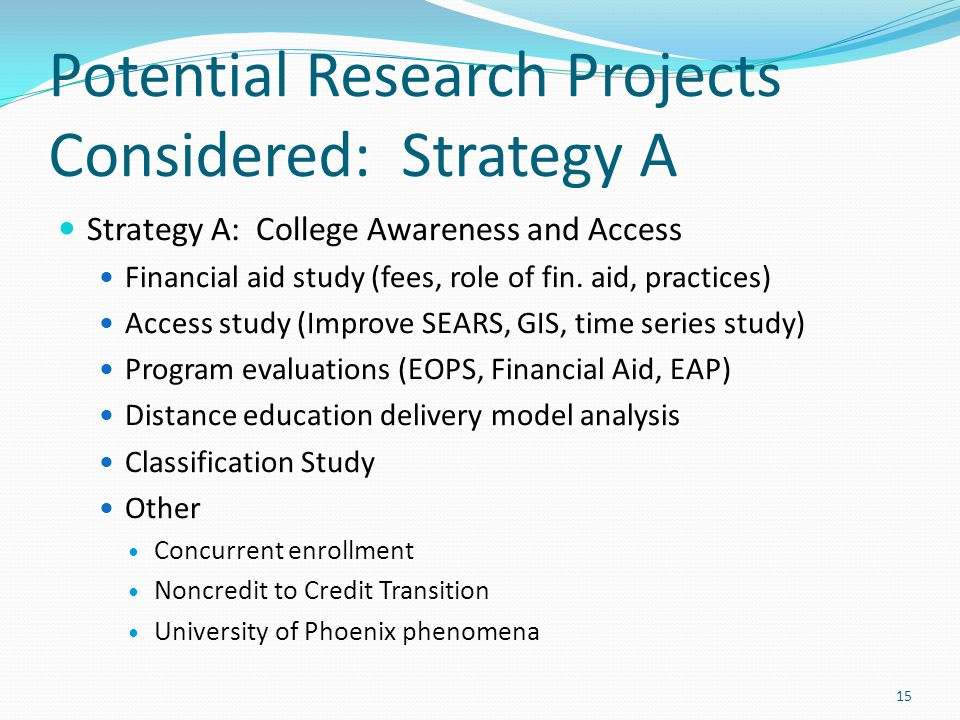 Potential Research Projects Considered: Strategy A Strategy A: College Awareness and Access Financial aid study (fees, role of fin.