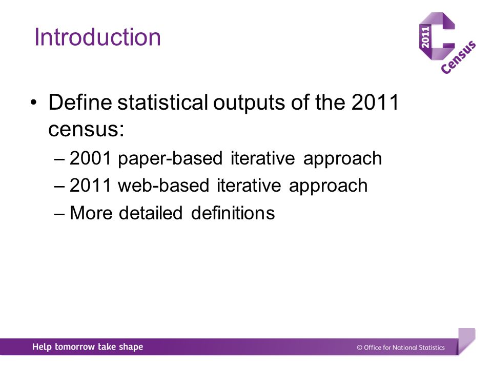 Census 2011 Future consultation – statistical output specification