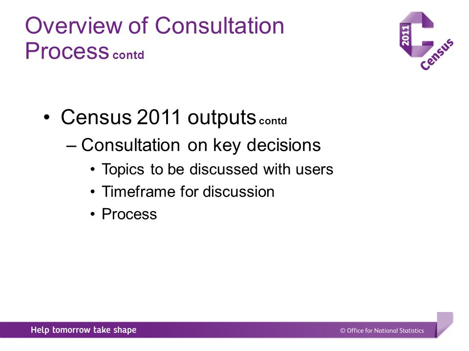 Overview of Consultation Process This is the start of the consultation on outputs Census 2011 outputs –Taking on board lessons learned and suggestions