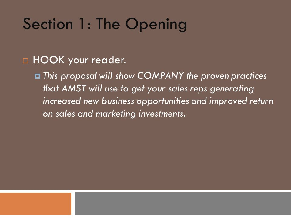 Section 1: The Opening  HOOK your reader.
