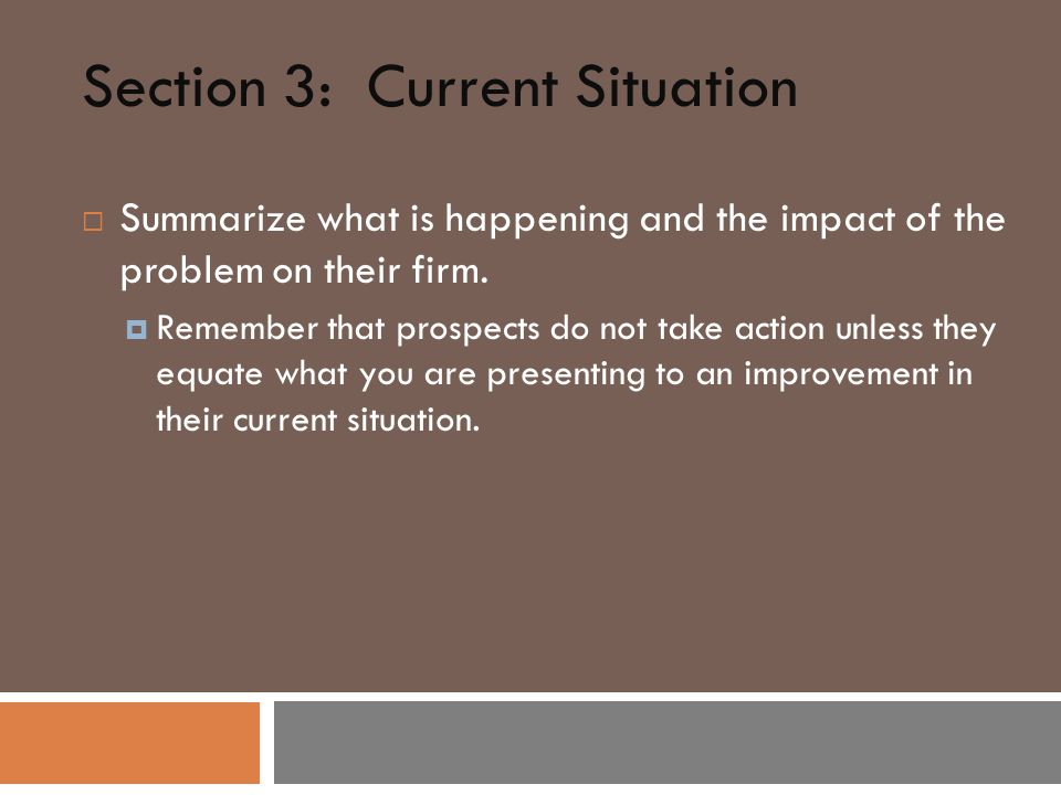 Section 3: Current Situation  Summarize what is happening and the impact of the problem on their firm.
