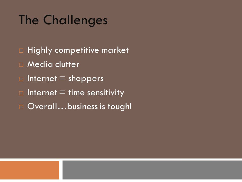 The Challenges  Highly competitive market  Media clutter  Internet = shoppers  Internet = time sensitivity  Overall…business is tough!