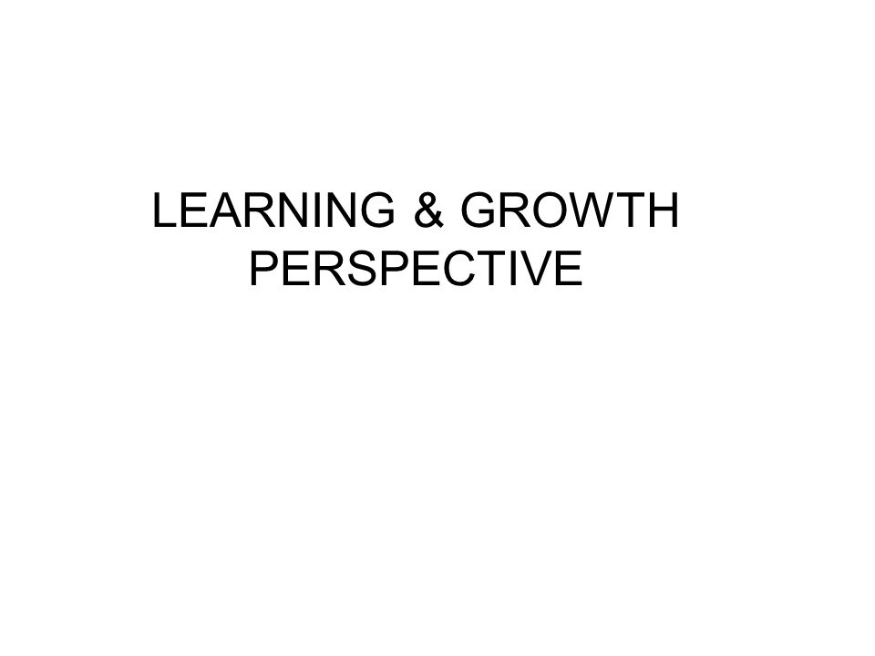 LEARNING & GROWTH PERSPECTIVE