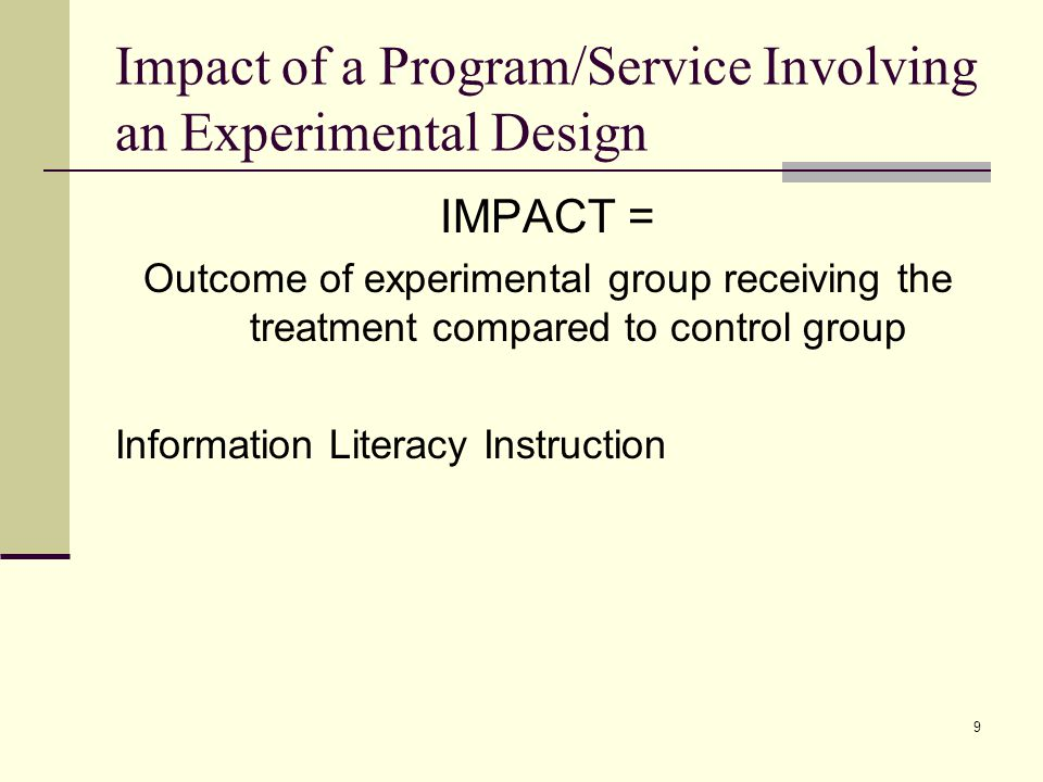 10 Classic Design Two group pre- and post- test One experimental group One untreated control group Compare outcomes to assess impact Problems with this?