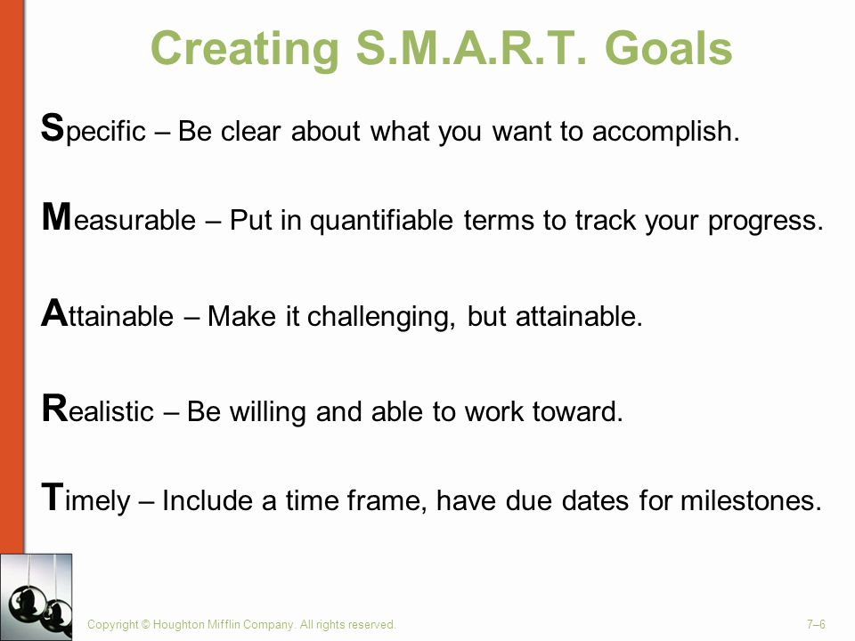 Creating S.M.A.R.T. Goals S pecific – Be clear about what you want to accomplish.