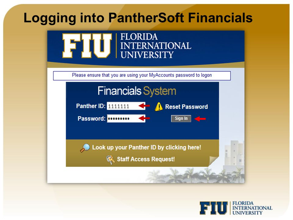 Logging into PantherSoft Financials The number of menu items displayed will depend on a user's security access.