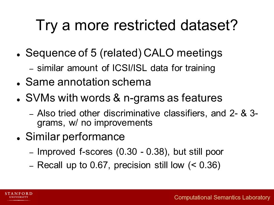 Try a more restricted dataset.