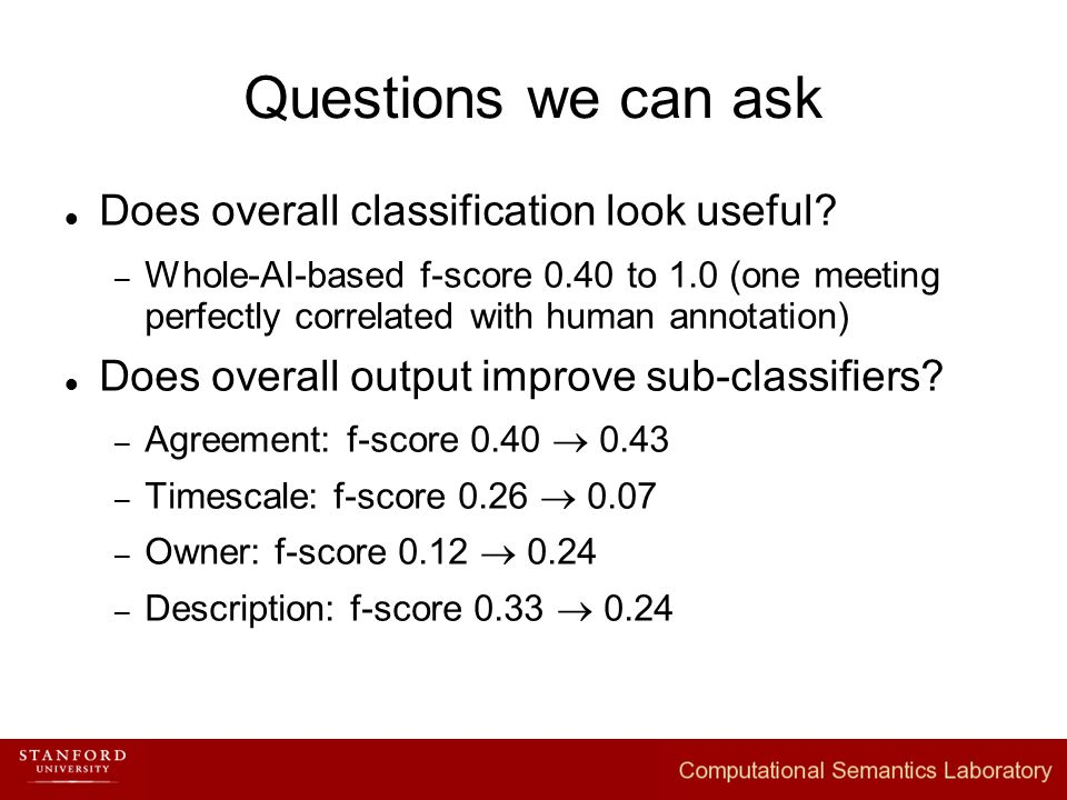 Questions we can ask Does overall classification look useful.