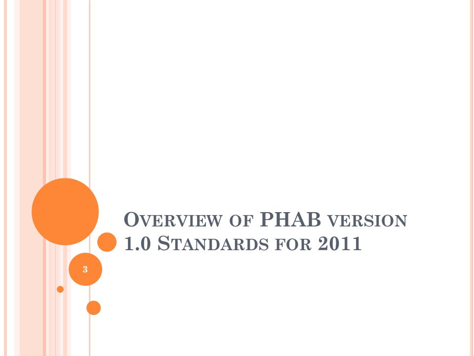 I NTERPRETATION OF PHAB S TANDARDS AND M EASURES Changes from 2010 Beta Test Standards Numbering System (Taxonomy) Scope of Domains Domains/Standards/Measures Quality Improvement Built into Standards 4