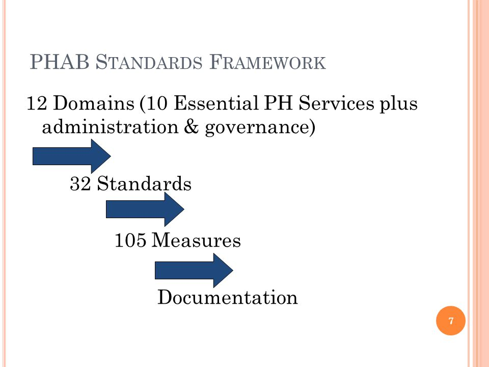 What you must submit for proof Guidance specific to the required documentation States if the documentation is department-wide or if a selection of programs' documentation is required Purpose: describes the public health capacity or activity in which the health department is being assessed Domain Measure Numbers Standard Describes the necessity for the capacity of activity 28