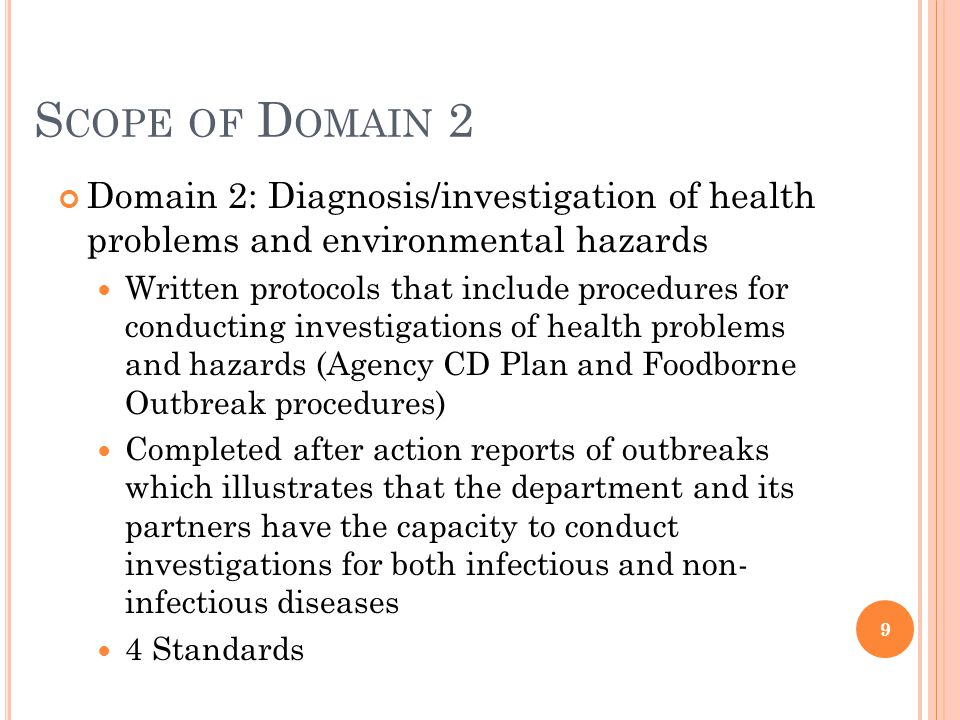 S COPE OF D OMAIN 3 Domain 3: Provide Health Education/Promotion and Communicate PH functions Public presentations/press releases/brochures/flyers/pubic service announcements to promote role of PH and related messages Evidence that target population helped frame message Evidence of unified messaging with community partners Media plan (risk communication plan) 2 Standards 10