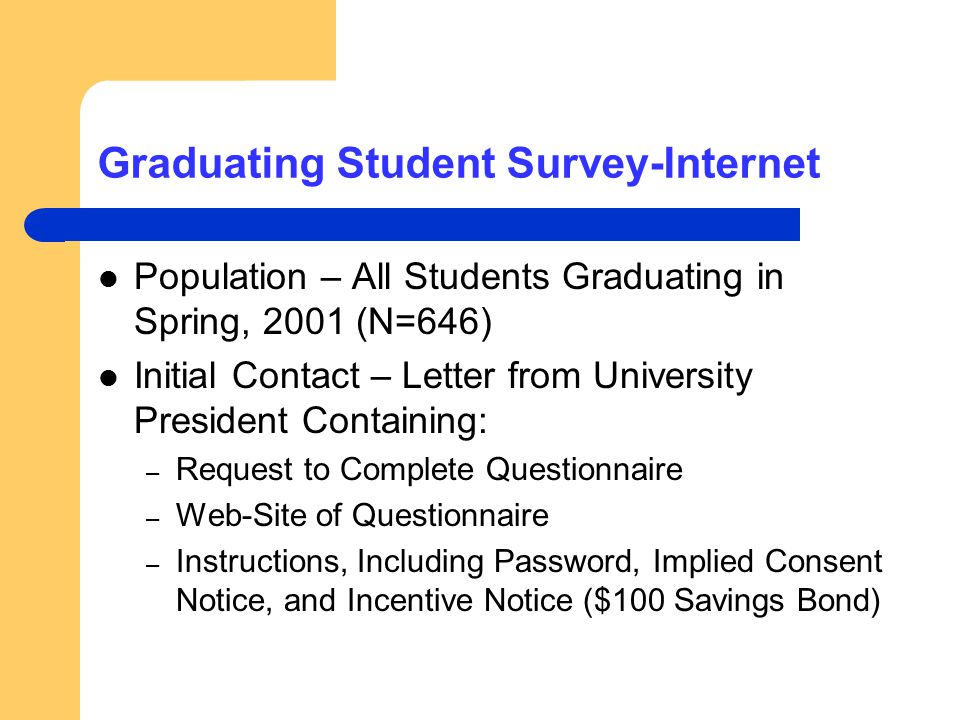 Graduating Student Survey-Internet Population – All Students Graduating in Spring, 2001 (N=646) Initial Contact – Letter from University President Con