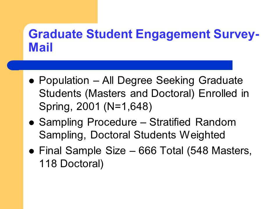 Graduate Student Engagement Survey- Mail Population – All Degree Seeking Graduate Students (Masters and Doctoral) Enrolled in Spring, 2001 (N=1,648) S