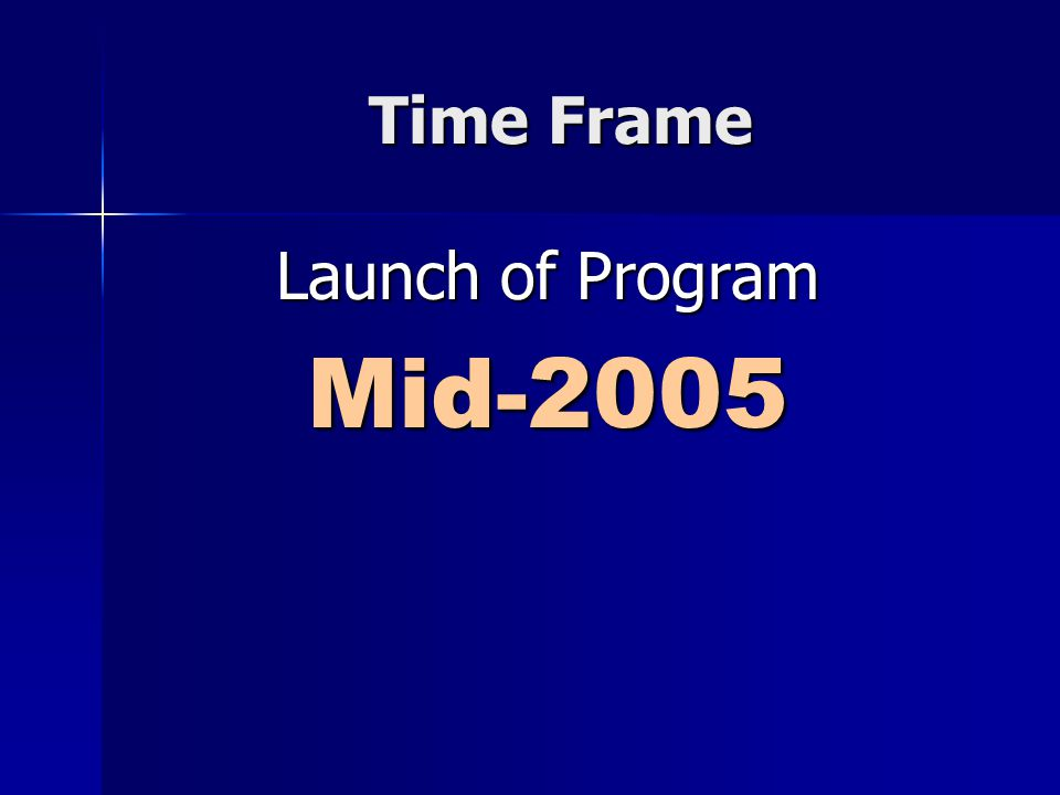 Time Frame Launch of Program Mid-2005