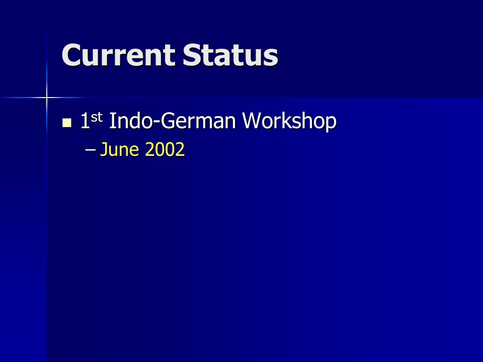 Current Status 1 st Indo-German Workshop 1 st Indo-German Workshop –June 2002