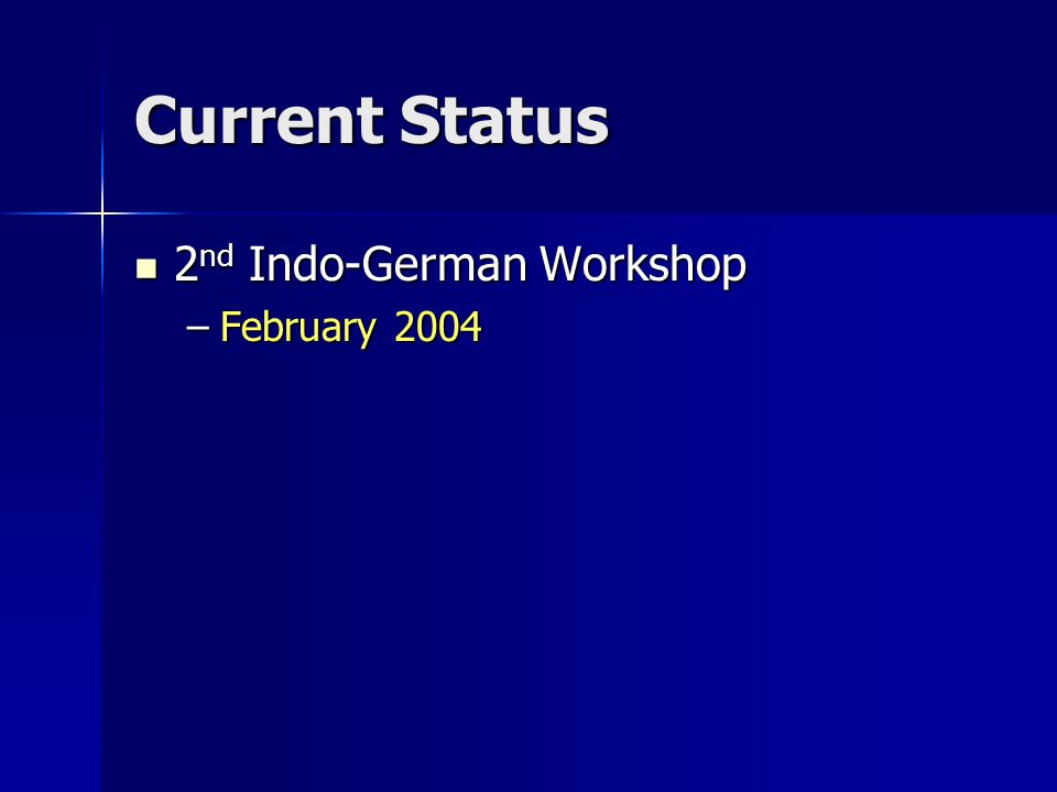 Current Status 2 nd Indo-German Workshop 2 nd Indo-German Workshop –February 2004
