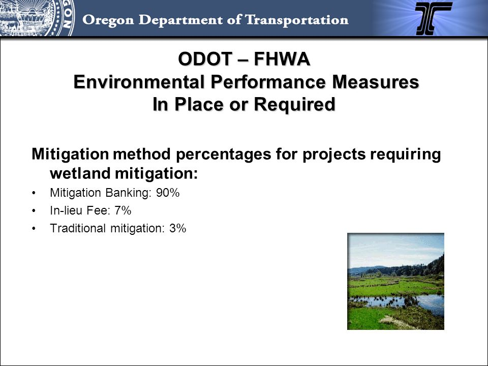 ODOT – FHWA Environmental Performance Measures In Place or Required Mitigation method percentages for projects requiring wetland mitigation: Mitigatio