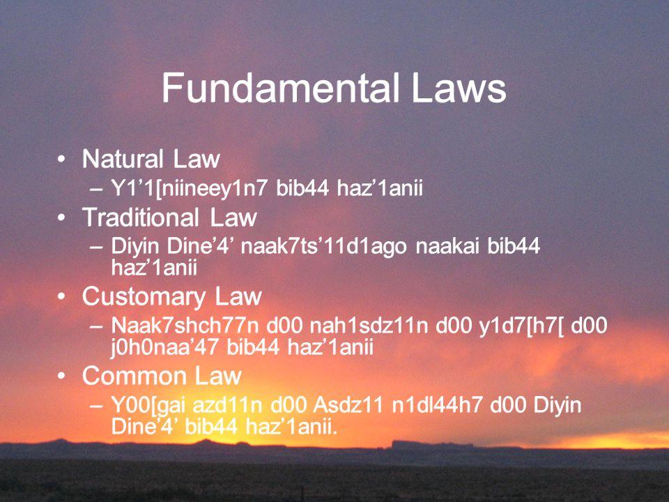 Fundamental Laws Natural Law –Y1'1[niineey1n7 bib44 haz'1anii Traditional Law –Diyin Dine'4' naak7ts'11d1ago naakai bib44 haz'1anii Customary Law –Naak7shch77n d00 nah1sdz11n d00 y1d7[h7[ d00 j0h0naa'47 bib44 haz'1anii Common Law –Y00[gai azd11n d00 Asdz11 n1dl44h7 d00 Diyin Dine'4' bib44 haz'1anii.