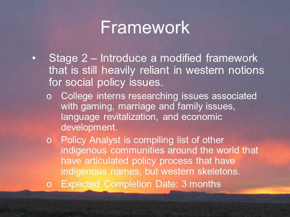 Framework Stage 2 – Introduce a modified framework that is still heavily reliant in western notions for social policy issues. oCollege interns researc