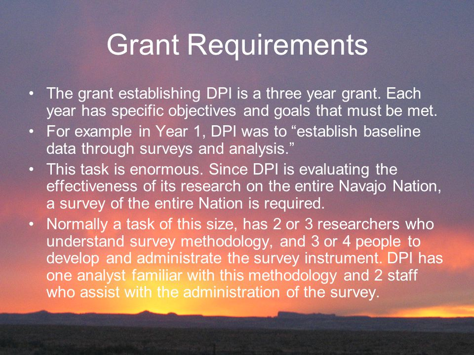 Grant Requirements The grant establishing DPI is a three year grant.