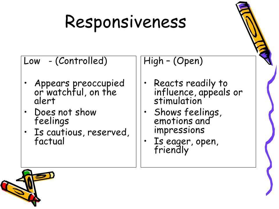 Responsiveness Low - (Controlled) Appears preoccupied or watchful, on the alert Does not show feelings Is cautious, reserved, factual High – (Open) Reacts readily to influence, appeals or stimulation Shows feelings, emotions and impressions Is eager, open, friendly