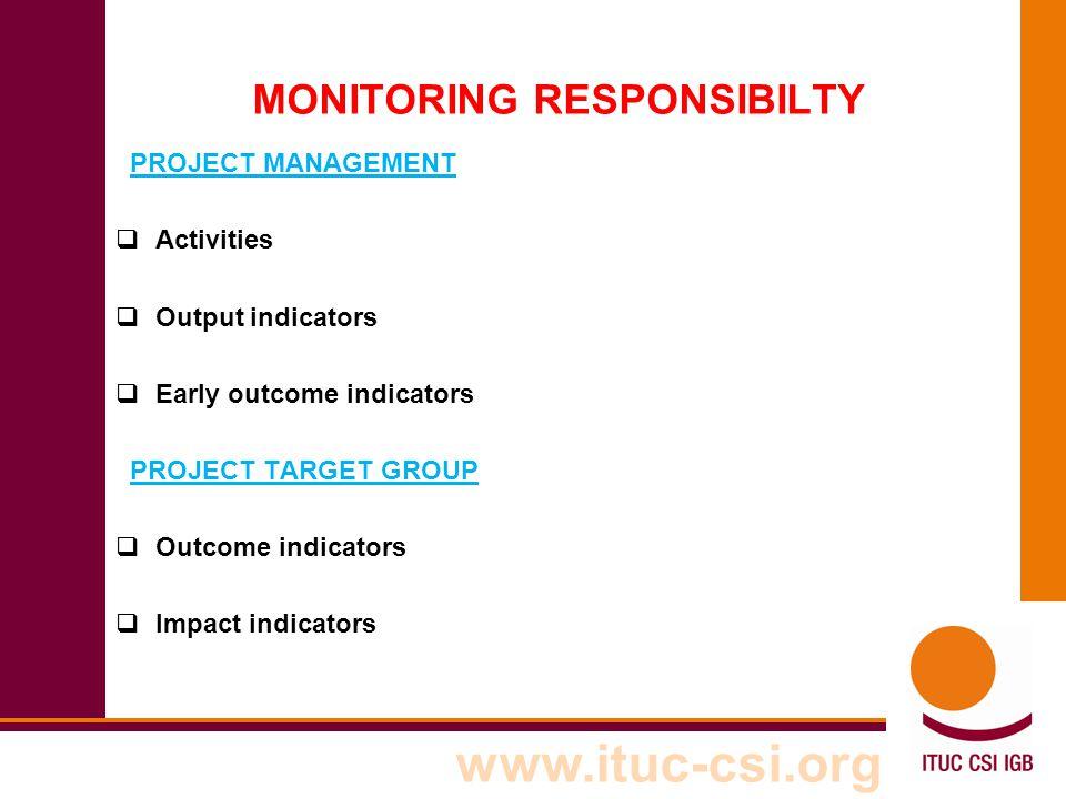 www.ituc-csi.org MONITORING RESPONSIBILTY PROJECT MANAGEMENT  Activities  Output indicators  Early outcome indicators PROJECT TARGET GROUP  Outcom